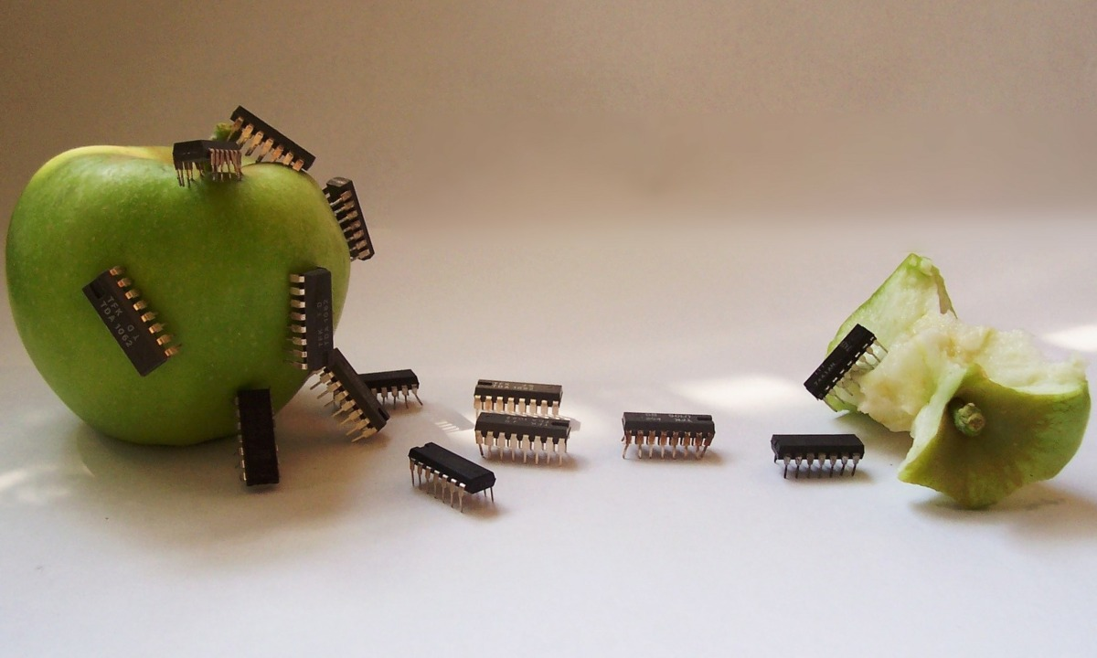 Computer Circuit Chip Apple Fruit